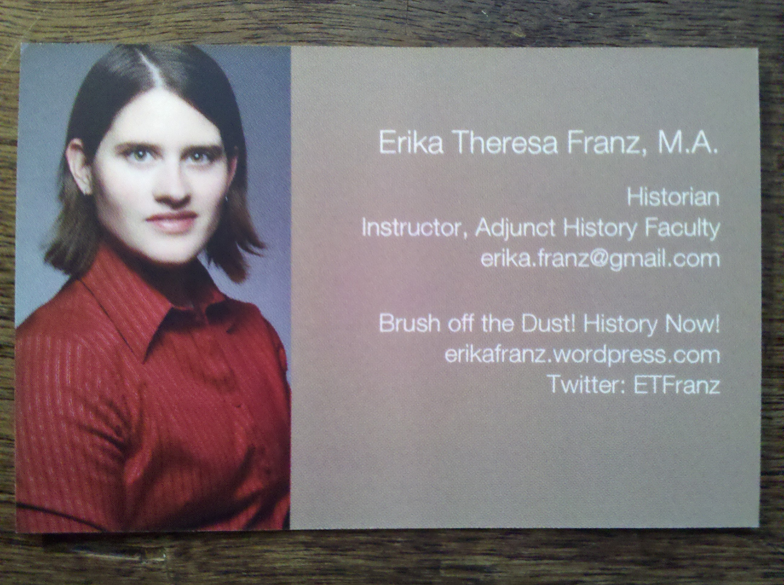 business cards | Brush off the dust! History now!